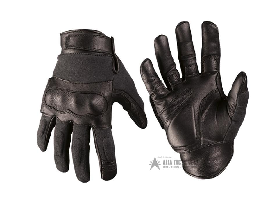 904106e96 Taktické rukavice Mil-Tec Kožené/Kevlar, Černé | alfatactical.cz
